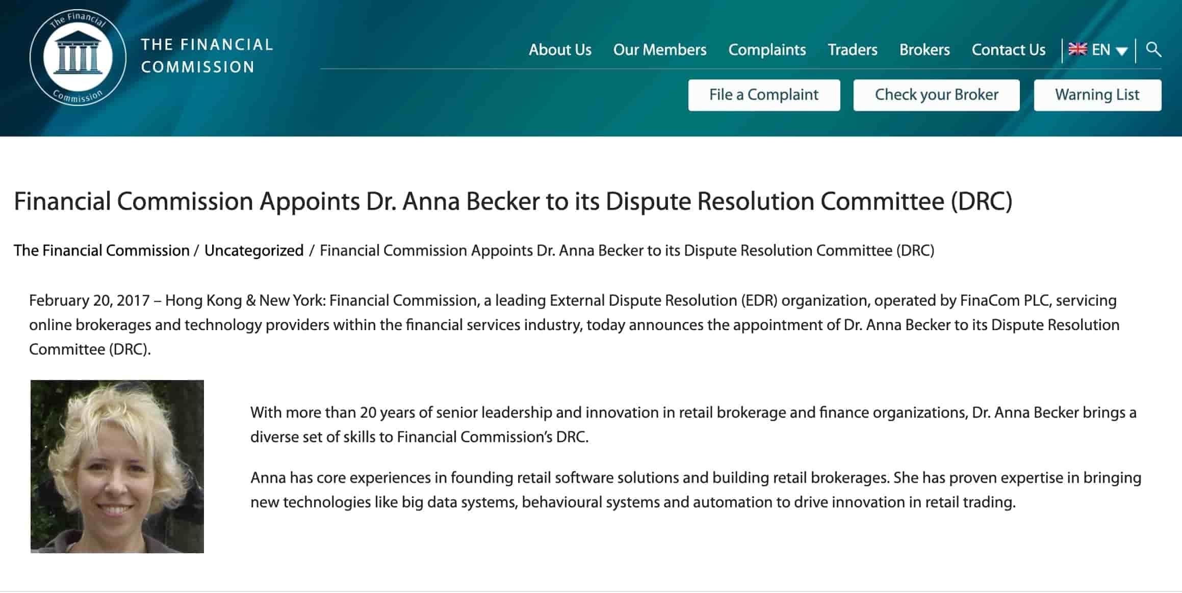 Анна Беккер в финансовой комиссии