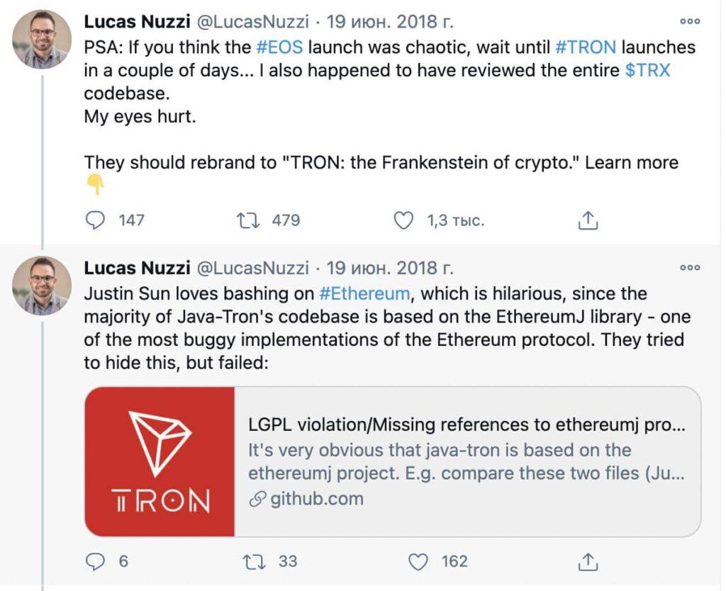 По словам одного из исследователей Лукаса Наззи, TRON является «Франкенштейном от криптовалют»